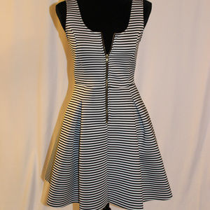 Dresses & Skirts - Striped white and black dress with front zipper